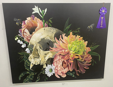 """Art Show A: Best in Show is an acrylic painting, """"Doom and Bloom"""" by Lizz Ford;"""