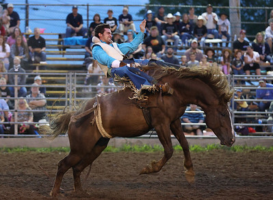 Stetson Birman competes in the bronc riding at the Washington Rodeo Tuesday night. Seb Foltz/Butler Eagle 08/17/21