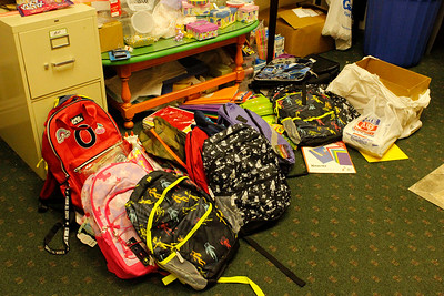 Backpacks: Community members donated upwards of 80 backpacks and drawstring bags to Mars Candy Land's backpack and school supply drive. Julia Maruca/Butler Eagle