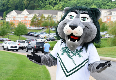 Slippery Rock University mascot Rocky the Lion was on hand to welcom students back to campus Thursday afternoon. Harold Aughton/Butler Eagle.