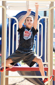Alex Sheaffer, 9, of Cranberry Twp. competed in the Zelie Ultimate Challenge at the Zelienople Community Park Saturday morning. He attended the event with his parents David and Erin Sheaffer. The fundraising event was hosted by Zac Baker. Baker raised $15,000 for the park. Baker will be a freshman biology major at Queens University in Charlotte, NC this fall.