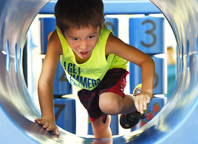 Heath Price, 4, of Harmony competed in the Zelie Ultimate Challenge at the Zelienople Community Park Saturday morning. The fundraising event was hosted by Zac Baker. Baker raised $15,000 for the park. Baker will be a freshman biology major at Queens University in Charlotte, NC this fall.