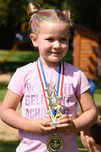 Abigail Little, 5, took first place in the female 4-5 year old division during the Zelienople Ultimate Challenge at the Zelienople Community Park Saturday morning. She attended the event with her mother Kathryn Little of Zelienople. Harold Aughton/Butler Eagle