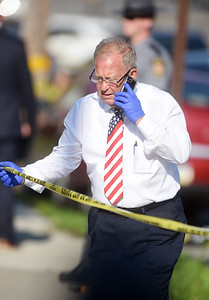 Butler County coroner William Young was called to the scene of a police shooting in the 300 block of West Jefferson Street. According to PSP trooper Josh Black, Butler City resident John Ebberts, 35, was jumping in and out of traffic and acting erratically Tuesday morning.  Ebberts stabbed a responding butler city police officer multiple times before the officer discharged his weapon fatally wounding Ebberts. Harold Aughton/Butler Eagle