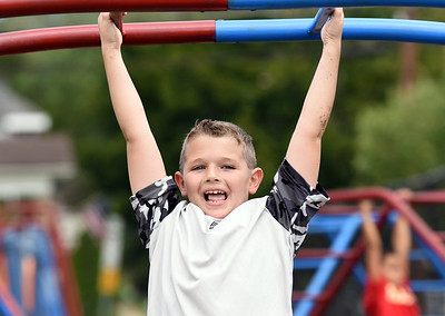 First-grader, Julian Shumaker, hangs out on the playground during recess at the Broad Street Elementary School Thursday afternoon. Harold Aughton/Butler Eagle.