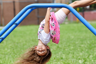 First-grader, Sophia Henry, hangs out on the playground during recess at the Broad Street Elementary School Thursday afternoon. Harold Aughton/Butler Eagle.