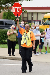 Patti McCall Bodden started her new job as a crossing guard at Emily Brittain Elementary Thursday morning. According to Bodden, her mother, Maxine McCall, was a crossing guard at Broad Street Elementary for 32 years. Harold Aughton/Butler Eagle