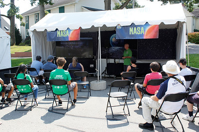 Visitors interacted with NASA scientists through remote presentations in tents at the Mars Exploration Celebration. Julia Maruca/Butler Eagle