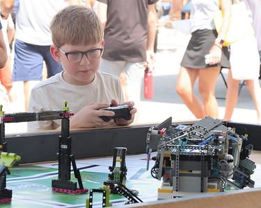Isaac Friel, 7 drives a lego robot at the Mars Robotics Association tent at Mars Exploration Celebration Saturday.  Seb Foltz/Butler Eagle 08/28/21