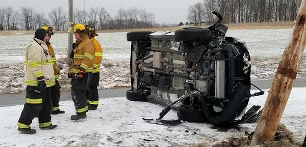 A woman several months pregnant was injured Sunday morning, January 31, 2021,  in a rollover crash on Bonniebrook Road in Jefferson Township, authorities said. The 23-year-old woman from Slippery Rock suffered an apparent minor hand injury in the 7:15 a.m. wreck blamed on slippery roads. A passer-by helped get her out of her sport utility vehicle. Jim Smith/Butler Eagle