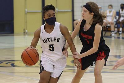 Butler guard Sarayne Forbes drives the ball down court against Mohawk's Alexa Kadilak. Seb Foltz/Butler Eagle 01/31/21