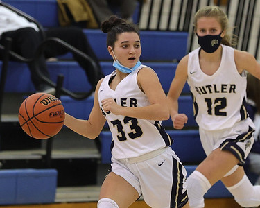 Butler guard Aubree Tack moves the ball down court in the girls home loss against Mohawk Saturday. Seb Foltz/Butler Eagle