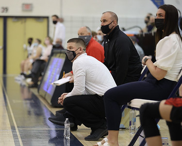 Mohawk girls basketball coach and Knoch grad Mike O'Lare coaches players during the game against Butler Saturday. Seb Foltz/Butler Eagle 01/31/21