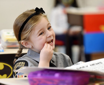 Kindergartner Olivia Black, dressed as a Pennsylvania State Trooper in recognition of Healthcare and First Responder Appreciation Day at Butler Catholic. Harold Aughton/Butler Eagle.