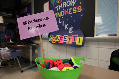 'Kindness Rocks' painted with friendly messages by Northwest Elementary School students, part of the school's Kindness in Action program promoting good behavior and friendly actions. Seb Foltz/Butler Eagle 1/22/21