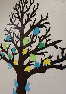 Northwest Elementary's Kindness Tree is where students get to post their good deeds as leaves to fill the tree. Seb Foltz/Butler Eagle 01/22/21
