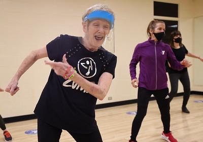 Rose E. Schneider YMCA fitness instructor Sandy Wargo, 72, leads a Zumba class. Seb Foltz/Butler Eagle 01/28/21