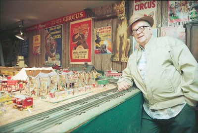 James Bashline's garage houses a tiny circus, complete with horse-drawn calliope.  photo by Jack Neely