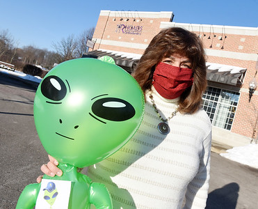 Mars school board member, Christine Valenta drops of Marty the Martian at Rhoads Orthodontics in Cranberry Twp, to raise awareness of Mars Area Foundation fundraising campaign, Thursday, February 04, 2021.