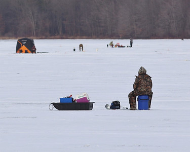 Ice fisherman flocked to Moraine State Park's Lake Arthur Saturday. Dozens of anglers took to the lake to take advantage of one of the first days in over a year with enough ice to fish on. Seb Foltz/Butler Eagle 01/30/21