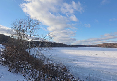 Lake Arthur at Moraine State Park frozen over earlier this week.  Seb Foltz/Butler Eagle Feb. 2021  (EDITORS NOTE: POSSIBLE USE WITH SEASONAL DEPRESSION STORY)