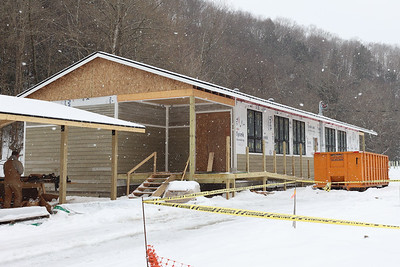 The Audubon Society of Western nature center under construction at the Monroe Road trailhead of the Butler Freeport Trail in Buffalo Township. Seb Foltz/Butler Eagle 02/16/21