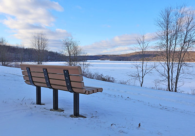 South Shore of Lake Arthur at Moraine State Park earlier this week. The lake is nearly completely frozen. Seb Foltz/Butler Eagle Feb. 2021 (EDITORS NOTE: POSSIBLE USE FOR SEASONAL DEPRESSION STORY.)