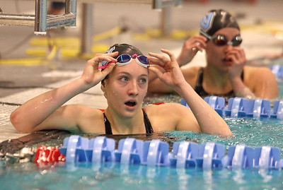 Seneca's Kendall Craig looks up at the scoreboard after the individual 200 IM against Butler Thursday. Seb Foltz/Butler Eagle 02/18/21