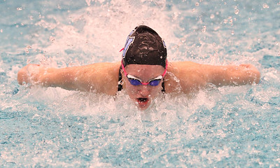 Seneca's Kendall Craig looks swims butterfly in the 200 medley relay against Butler Thursday. Seb Foltz/Butler Eagle 02/18/21