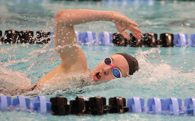 Seneca's Kendall Craig swims the freestyle led of the individual 200 IM against Butler Thursday. Seb Foltz/Butler Eagle 02/18/21