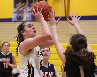 Mars' Ava Black takes a shot over Indiana's Haleigh Zimmerman Tuesday at Mars. Seb Foltz/Butler Eagle 02/23/21