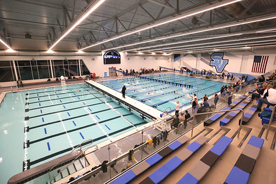 New Seneca Valley School District pool during the venue's inaugural event Thursday. Seb Foltz/Butler Eagle 02/19/21