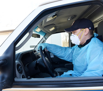 EMT Eric Hacker of Quality EMS Ambulance Service in Mars wears a N-95 mask on the majority of calls Thursday, February 25, 2021. Harold Aughton/Butler Eagle.