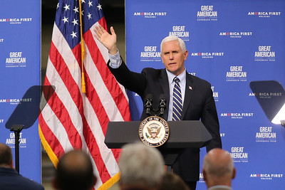 Vice President Mike Pence waves to the crowd after his speech at Oberg facilities in Sarver Friday. Seb Foltz/Butler Eagle 06/12/20