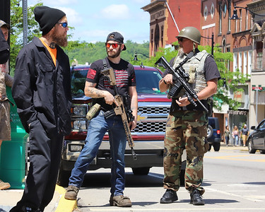 Business owners and armed locals showed up to protests Sunday 05/31/20 in Butler to show a presence and protect Main St. during a Black Lives Matter protest. Protests the previous day in Pittsburgh resulted in property damage and the looting of a number of downtown businesses. Seb Foltz/Butler Eagle