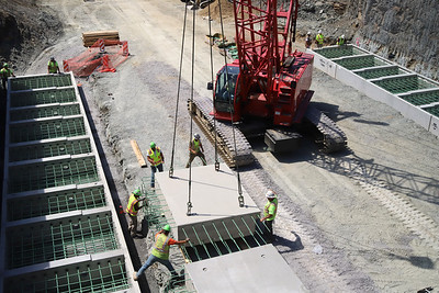 Construction crews work on the Route 228 MSA Thruway project Wednesday in Cranberry. Seb Foltz/Butler Eagle