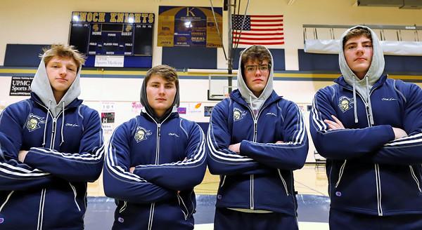 Knoch senior wrestlers (left to right): Ty Misitis, Kyle Lauster, Sam Freyermuth, Eli Reese