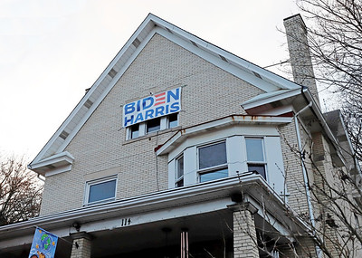 Home of Jim Smith, 65, of Butler. His Biden Harris flag is visible to anyone coming to town on Route 356 North from Saxonburg. Seb Foltz/Butler Eagle 01/13/20