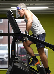Frank Gaudino, 62, an engineer at AK Steel, worked out on his lunch break at the Butler YMCA, Monday, January 4, 2021. Harold Aughton/Butler Eagle.