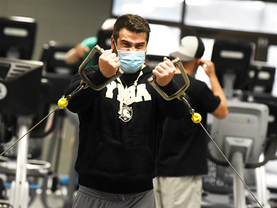 Army reservist veteran, Jesse Binus of Butler worked out at the Butler YMCA Monday, January 4, 2021. Harold Aughton/Butler Eagle.