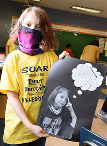 Lennon Griffith, 9, a third grader at Emily Brittain Elementary, shows off his Martin Lutheran King project Friday, January 15, 2021. Harold Aughton/Butler Eagle.