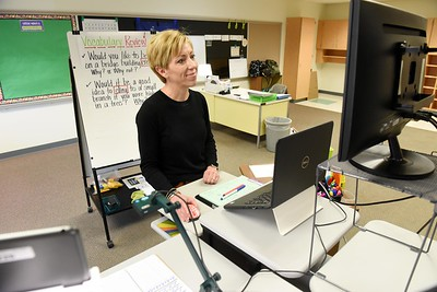 Butler School District, third grade teacher, Wendy Laconi teaches in her new cyber classroom in Broad Street Elementary. Harold Aughton/Butler Eagle