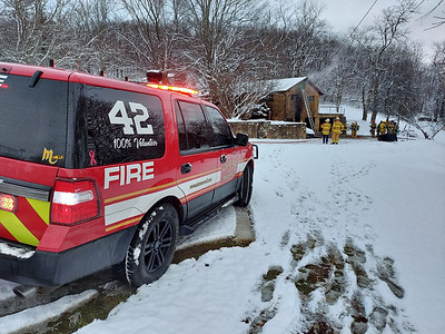 A residence along Franklin Road in Cranberry Township suffered significant interior damage on  Jan. 18, 2020  following a fire that started in the basement. No injuries were reported.  Photo by Harold Aughton/Butler Eagle