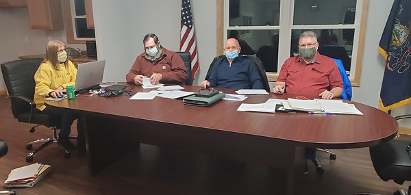 Mercer Township officials held their first meeting in their newly built building. From left to right: Secretary and treasurer Lori Geisler, chairman Rick Stuchal, supervisor Pete Teese, supervisor John Bennet Jr. Nathan Bottiger/Butler Eagle