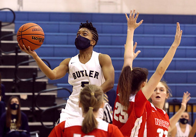 Butler's Sarayne Forbes extends for a shot at home against North Hills. Butler topped the Indians 52-26. Seb Foltz/Butler Eagle 01/21/21