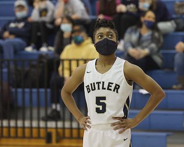 Butler's Sarayne Forbes looks up at a foul shot against North Hills Thursday. Butler won 52-26. Seb Foltz/Butler Eagle 01/21/20