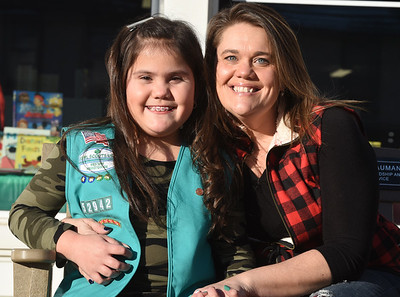 Girl scout Tessa Carbungco and her mother, Amy Carbungco of Saxonburg are selling girl scout cookies virtually online this year due to the pandemic. Harold Aughton/Butler Eagle