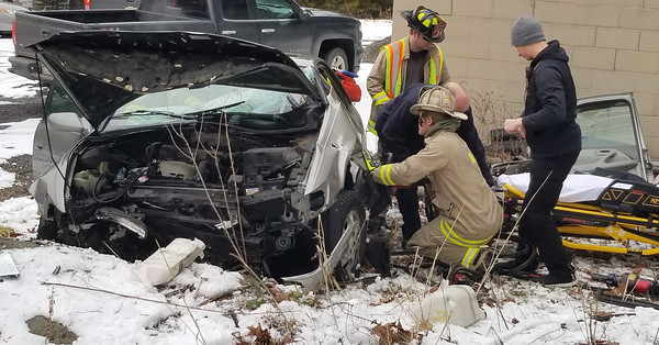 A woman in her 60s was injured Monday, January 25, 2021, after a vehicle accident at the intersection of West Sunbury Road and Harper Drive in Center Township. Photos by Jim Smith/Butler Eagle