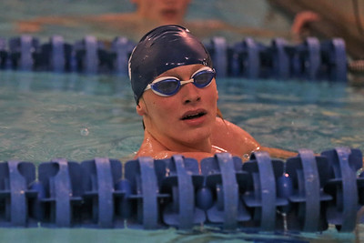 Butler's Sam Deemer looks to the score table after the 200-meter freestyle Wednesday against Hampton. Seb Foltz/Butler Eagle 01/27/21