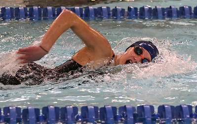 Butler's Emma Plugh goes for a breath during the 200-meter freestyle Wednesday against Hampton. Seb Foltz/Butler Eagle 01/27/21